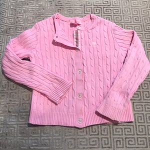 Lilly Pulitzer Girls pink cable knit cardigan